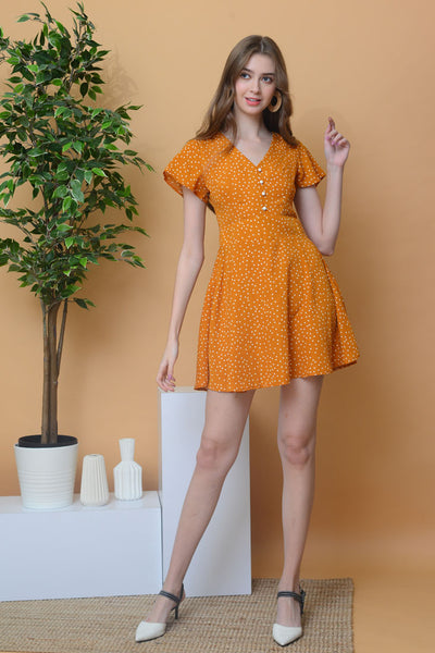 [BUY]Casual –Polka Dot Dress in Mustard