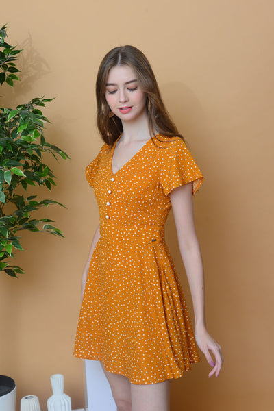 Casual –Polka Dot Dress in Mustard
