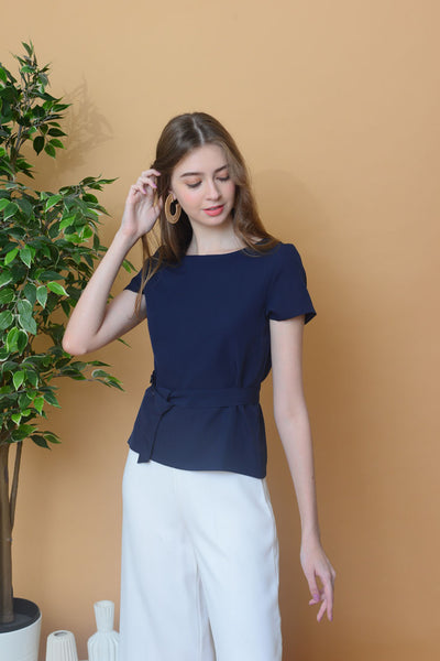 Casual –Basic Round Neck Top in Navy