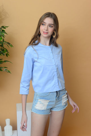 [BUY]Casual – Mandarin Collar Shirt in Blue
