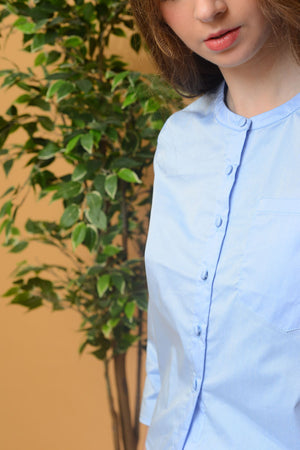 Casual – Mandarin Collar Shirt in Blue