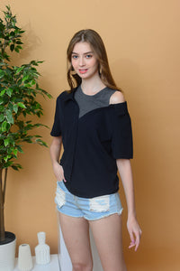 [BUY] Casual – Drop Shoulder Button Top in Navy