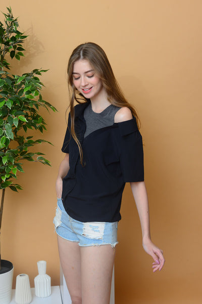 【2】Casual – Drop Shoulder Button Top in Navy