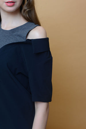 Casual – Drop Shoulder Button Top in Navy
