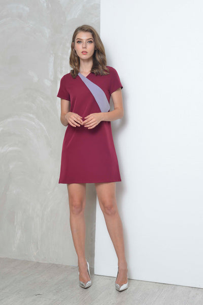 Casual-Adeline Dress in Maroon