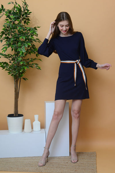 Casual – Sleeve Cut Out Dress in Navy