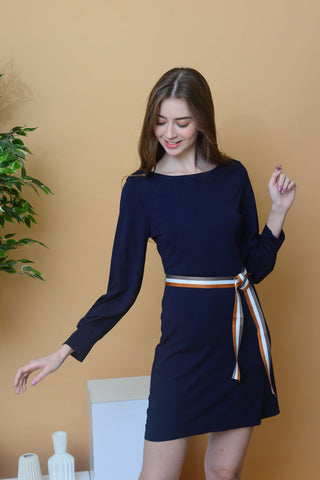 [BUY]Casual – Sleeve Cut Out Dress in Navy