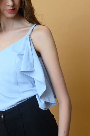 【1】Casual – Ruffled Camisole Top in Blue