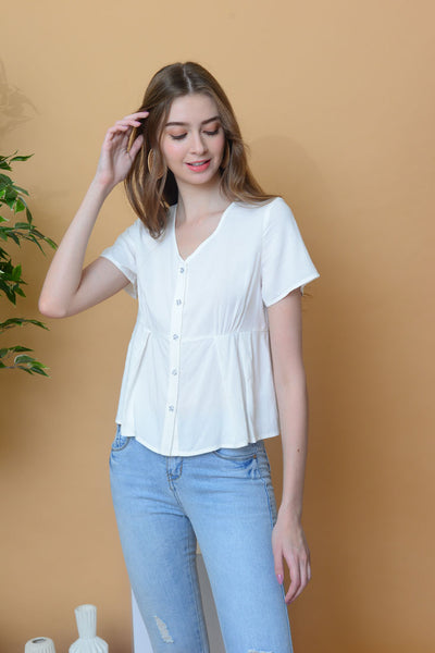 Casual – Linen button top in White