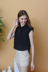 Casual – Dropped Cap Sleeve Top in Black