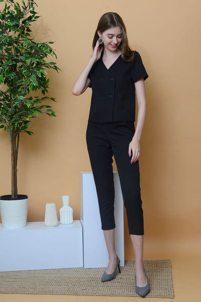 [BUY]Casual – Button V-neck Top in Black