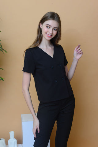Casual – Button V-neck Top in Black