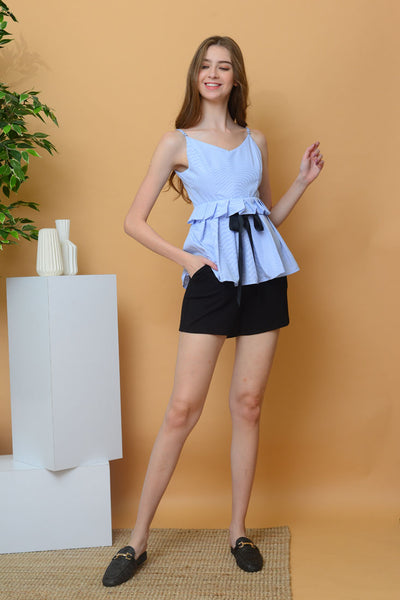 Casual - Stripes Camisole Flare Top in Blue
