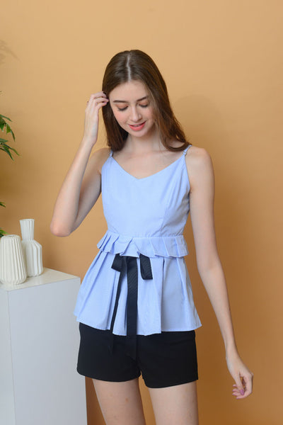 [BUY]Casual - Stripes Camisole Flare Top in Blue