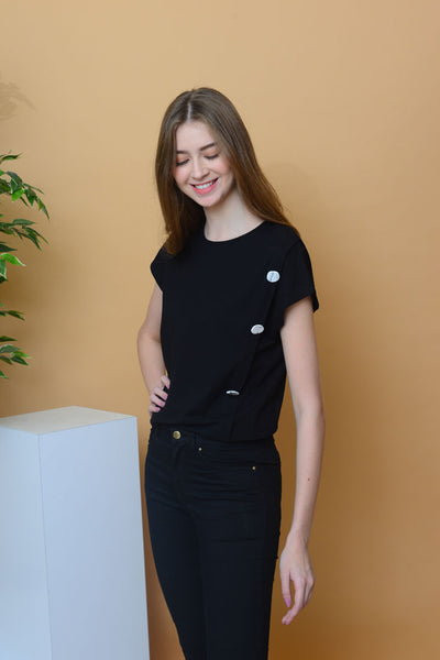 Casual - Irregular Button Tee in Black