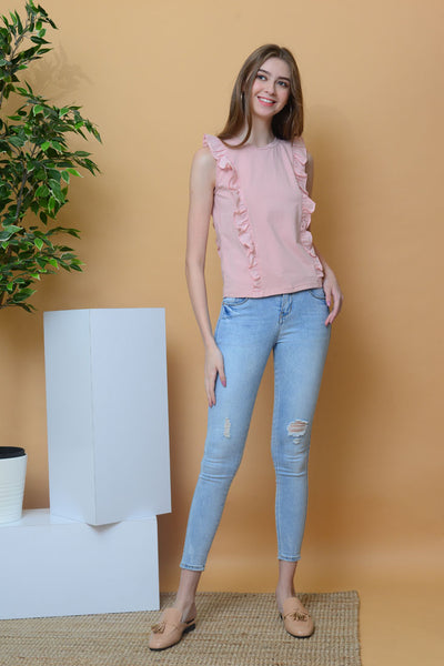 Casual - Basic Ruffle Tee in Dark Pink