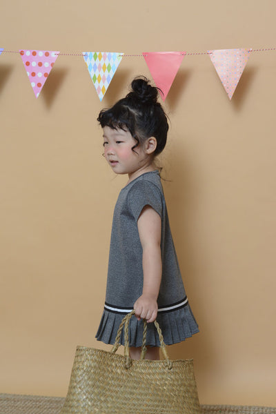 Mini Fluted Hem Dress in Grey