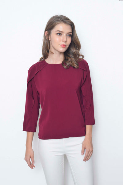 Basics-Alleffra Top in Maroon