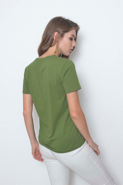 Casual-Casual Basic Tee in Green