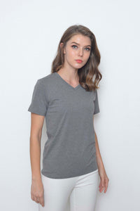 Casual-Casual Basic Tee in Grey