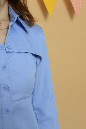[ Pre-Order ] Casual Boni Tie Shirt Dress in Blue