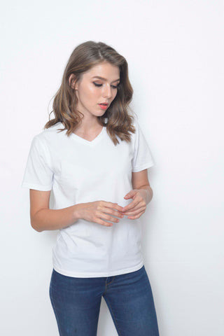 Casual-Casual Basic Tee in White