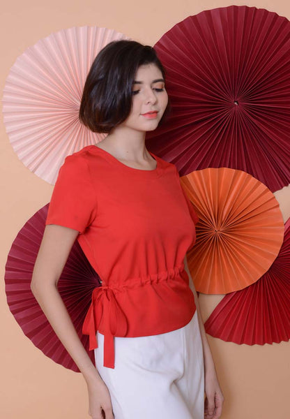 Lyden –Side Ribbon Top in Red
