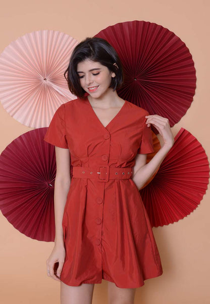 Casual –Belted Button Down Dress in Red