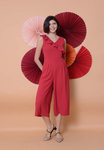 Casual - Ruffle Slv Jumpsuit in Red