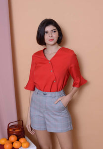 Lyden – Slant Button Top in Red