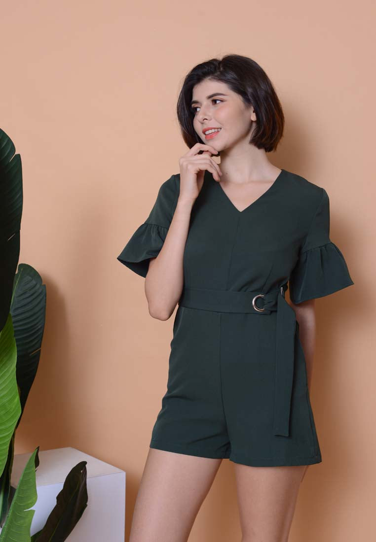Casual –Waist Tie Jumpsuit in Green