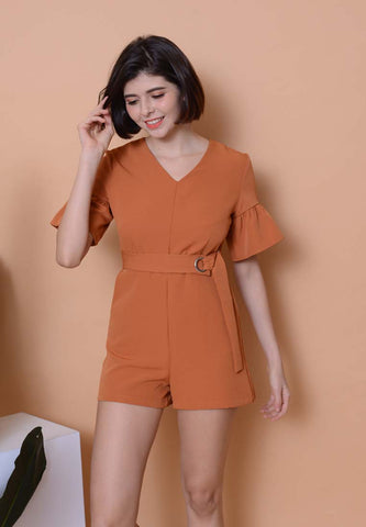 Casual –Waist Tie Jumpsuit in Brown