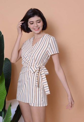 Casual –Striped Side Tie Jumpsuit in Beige