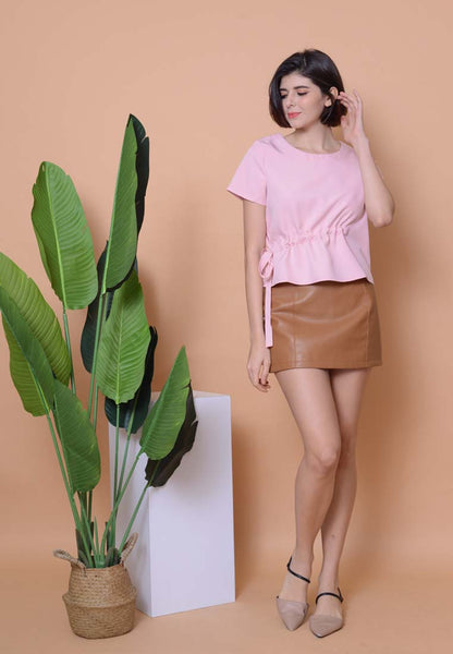 Lyden –Side Ribbon Top in Pink