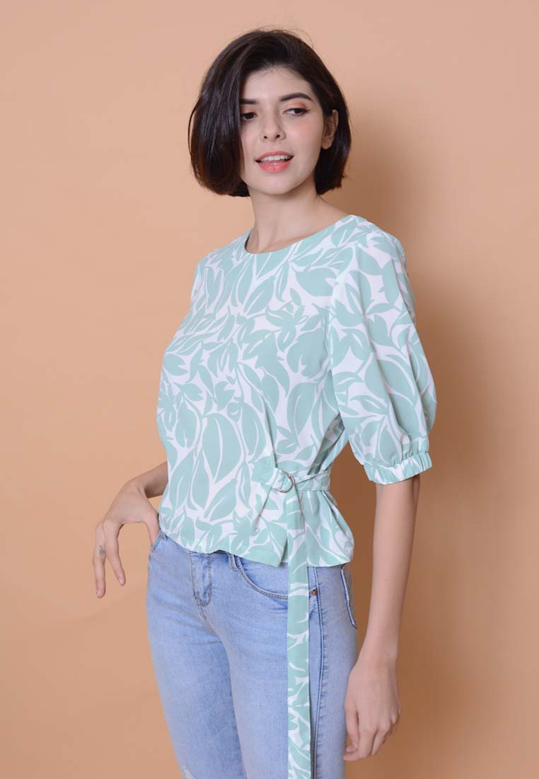Lyden – Floral Puffy Sleeve Top in Green