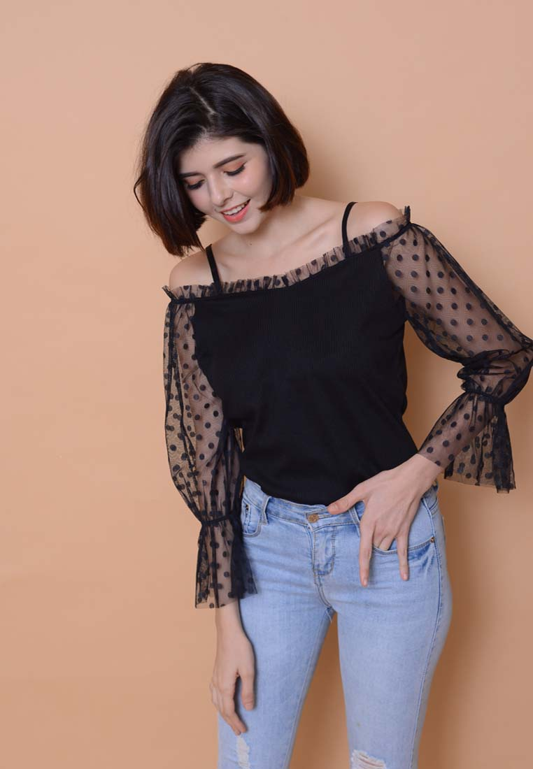 [BUY]Casual – Mesh Off Shoulder Top in Black