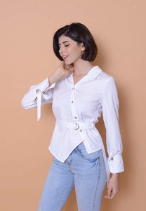 Collection –Slant Button Shirt in White