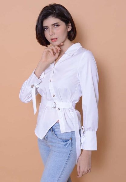[BUY]Collection –Slant Button Shirt in White