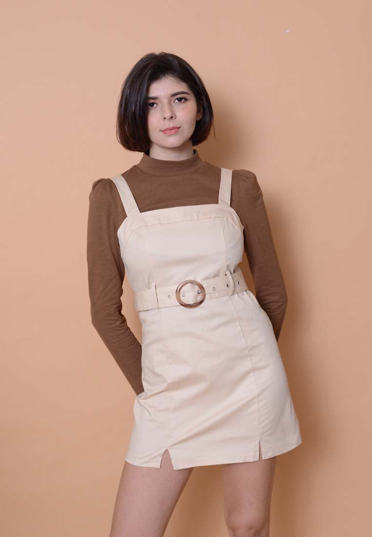 Casual –Belted Dress in Beige