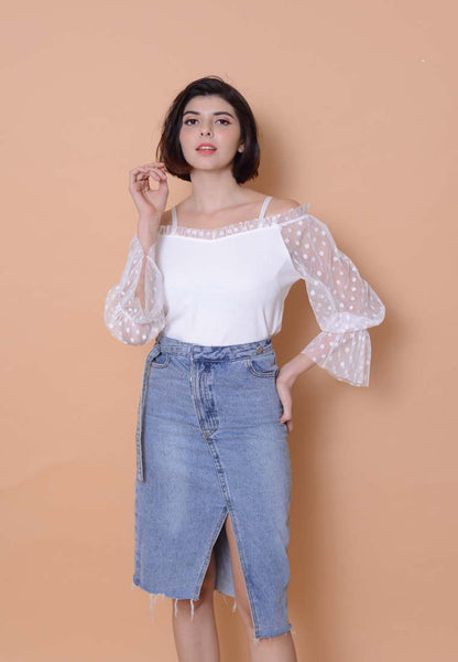 [BUY]Casual – Mesh Off Shoulder Top in White