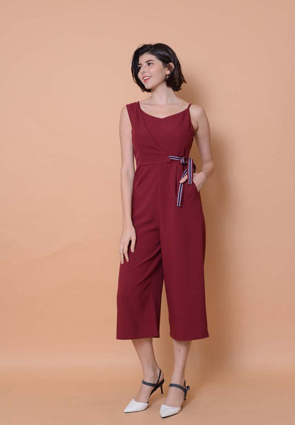 Collection –Asymmetric Jumpsuit in Maroon