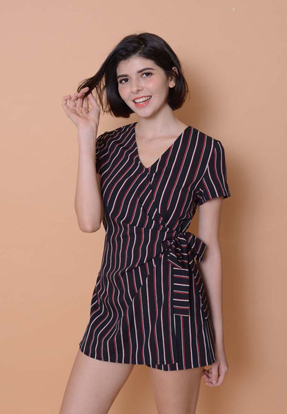Casual –Striped Side Tie Jumpsuit in Black