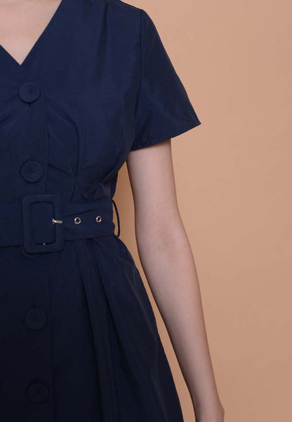 Casual –Belted Button Down Dress in Navy