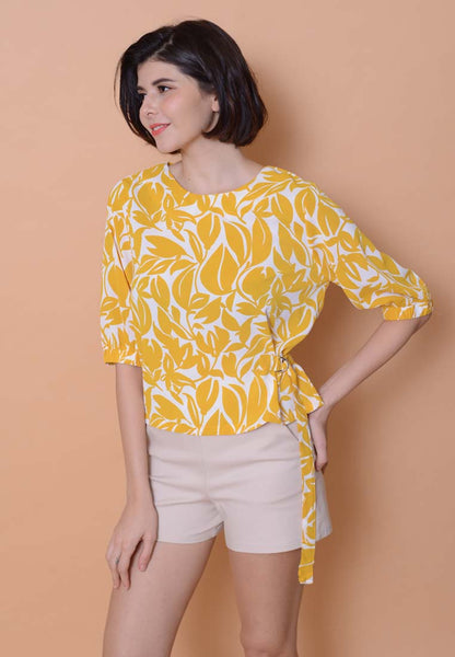 Lyden – Flora Puffy Sleeve Top in Mustard