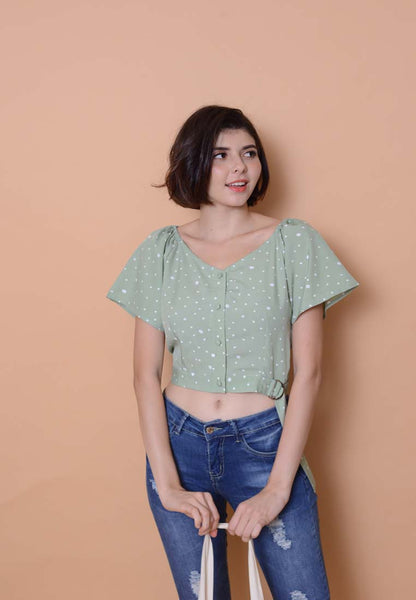 Casual - Printed Flare Sleeve Top in Green