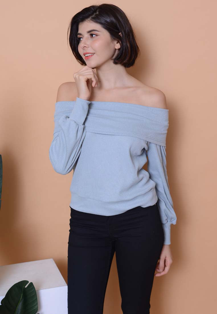 [BUY]Casual– Off Shoulder Knit Top in Blue