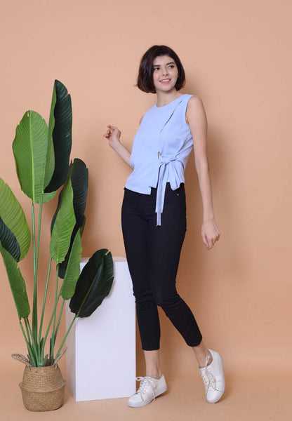 [BUY]Casual – Waist Tie Top in Blue