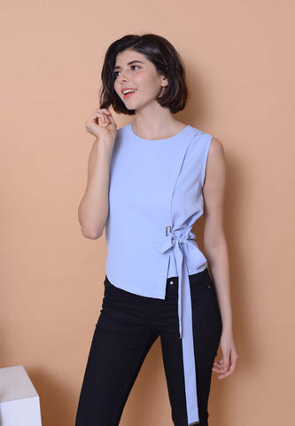 Casual – Waist Tie Top in Blue