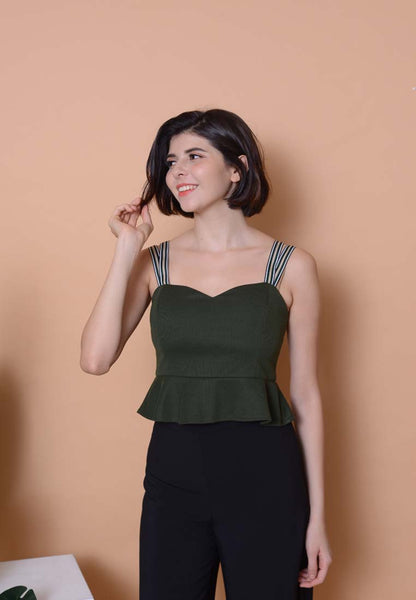 Casual – Double Strap Crop Top in Green