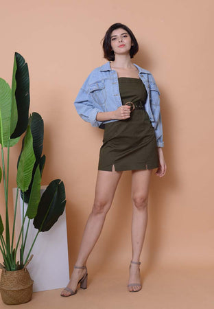 Casual –Belted Dress in Green